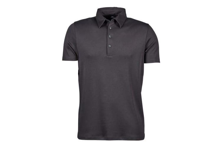 Tee Jays Mens Pima Short Sleeve Cotton Polo Shirt (Dark Grey) (S)