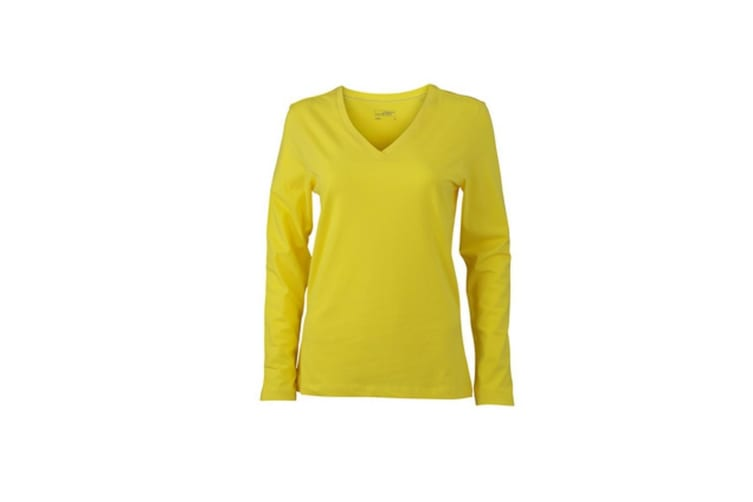 James and Nicholson Womens/Ladies Stretch V-Neck Long-Sleeved Shirt (Yellow) (M)