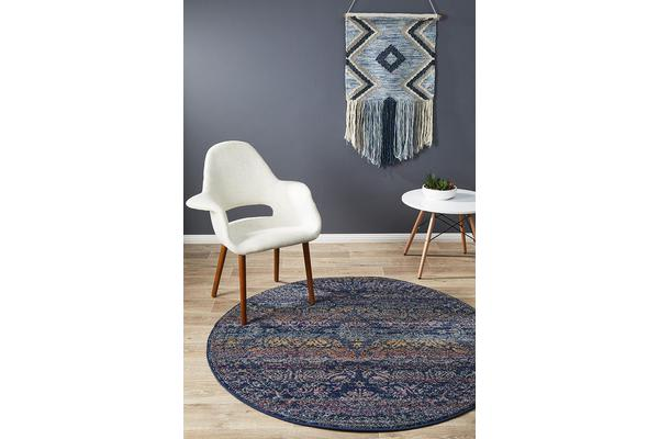 Hazel Navy & Multi Durable Vintage Look Round Rug 240x240cm
