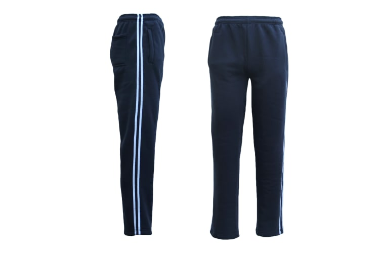New Men's Fleece Lined Striped Casual Sport Track Suit Sweat Pants Gym Trackies - Navy w White Stripes