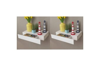 vidaXL Floating Wall Shelves with Drawers 2 pcs White 48 cm