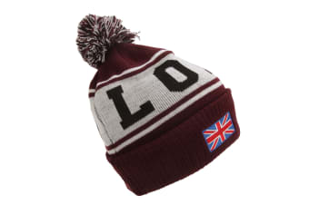 Devoted II Unisex London Design Pom Pom Winter Beanie Hat (Maroon) (One Size)