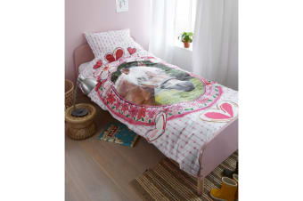 100% Cotton Favourites Horse Pink Quilt Cover Set Single by Kids Bedding House