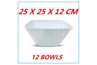 12 x LARGE GLOSSY WHITE MELAMINE SQUARE SALAD BOWLS BOWL PARTY FUNCTION EVENT KITCHEN
