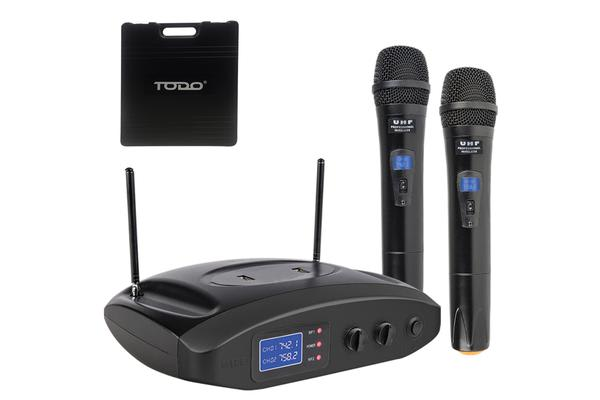 Twin Microphone Uhf Dual Channel Usb Rechargeable Mic Case Tc-Hh809U