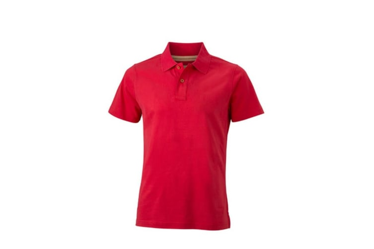 James and Nicholson Mens Vintage Polo (Red) (M)