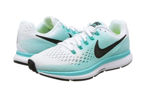 Nike Women's Air Zoom Pegasus 34 Running Shoe (White/Black/Aurora Green, Size 7.5)