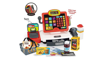 Red Electronic Kids Toy Cash Register with Soft Buttons and Scanner