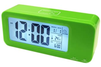 Portable Smart Lcd Alarm Clock Rechargeable Lithium Battery Date Temp Green
