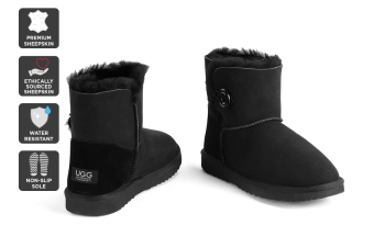 Outback Ugg Boots Mini Button - Premium Sheepskin (Black, 13M / 14W US)