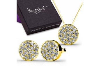 Swarovski Elements Pave Necklace & Earrings Set w/Swarovski Crystals-Gold/Clear
