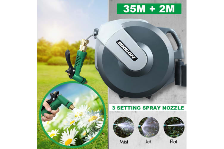35M Wall Mounted Water Hose Reel Auto Wind Holder Power Spray Nozzle 3 Modes