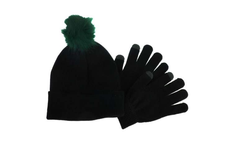Foxbury Womens/Ladies Touchscreen Winter Gloves And Pom Pom Hat Set (Black) (One Size)