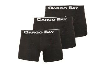 Cargo Bay Mens Button Fly Boxers (Pack Of 3) (Black)