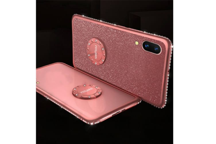 Glitter Diamond Rhinestone Bumper Ring Kickstand Protective Phone Case Vivo Rose Gold Vivo X9Splus