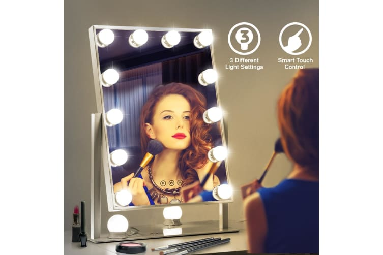 Maxkon Hollywood Style Makeup Mirror 12 LED Lights Vanity Mirror with Touch Control