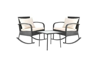 Gardeon 3 Piece Outdoor Rocking Set (Grey)