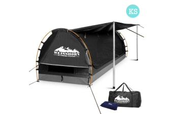 King Single Camping Canvas Swag with Mattress and Air Pillow (Grey)