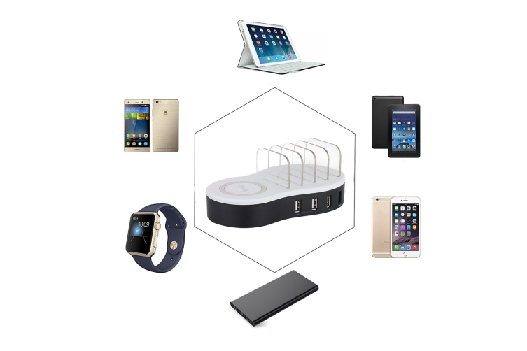 Multi-Usb Charger Wireless Charging Mobile Charging Bracket White AU