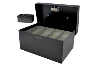 209mm Portable Sturdy Metal Cash/Money Box No.08 Organiser/Coins tray/key lock
