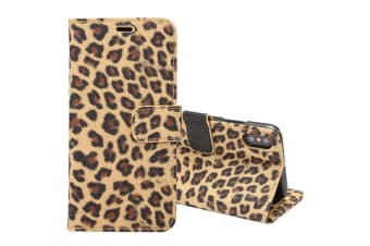 For iPhone XS X Wallet Case Leopard Durable Shielding Leather Cover Yellow