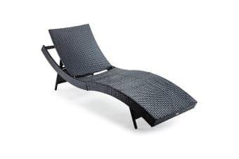LONDON RATTAN Outdoor Sun Lounge Wicker Day Bed Furniture Pool Chair Sofa Curved