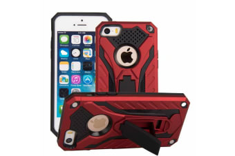 For iPhone 5  5S & SE Case  Armour Strong Shockproof Cover with Kickstand  Red