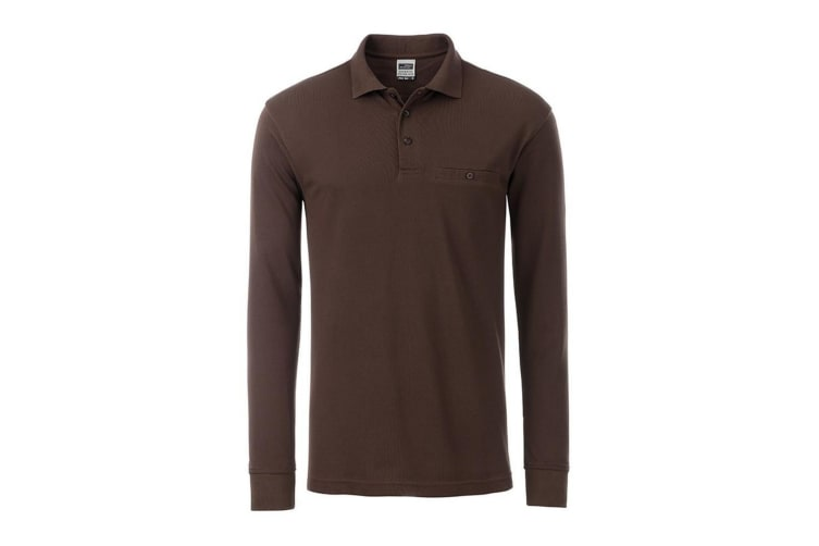 James and Nicholson Mens Workwear Long Sleeve Pocket Polo (Brown) (L)