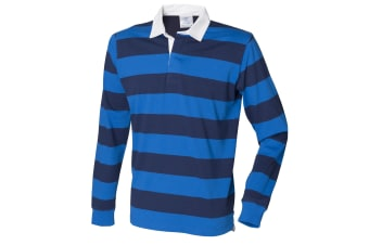 Front Row Mens Striped Sports Rugby Polo Shirt (Regatta Blue/Navy) (XS)