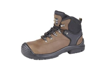Grafters Mens Super Wide EEEE Fitting Safety Boots (Dark Brown)