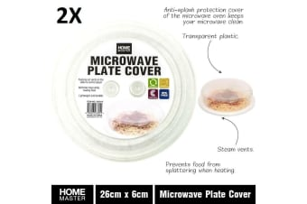2x Food Safe Plastic Microwave Dome Plate Lid Dish Cover Splatter Proof