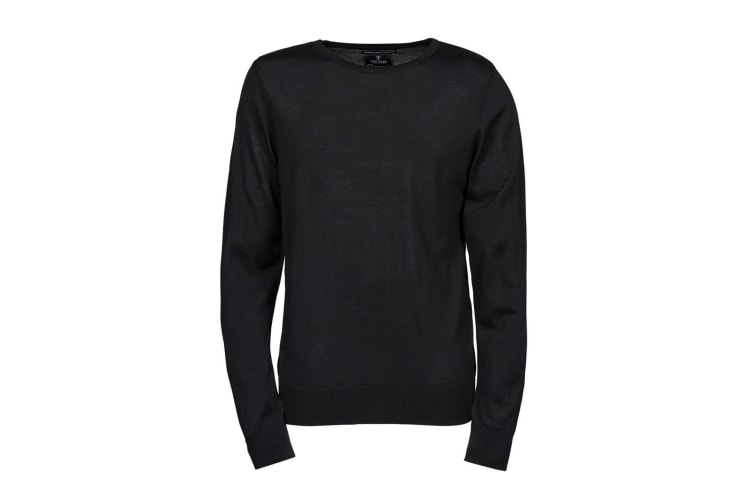 Tee Jays Mens Knitted Crew Neck Sweater (Black) (XL)