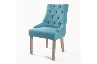 French Provincial Oak Leg Chair AMOUR - BLUE