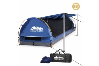 Double Camping Canvas Swag with Mattress and Air Pillow (Blue)