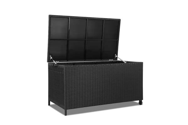 Wicker Outdoor Storage Box (Black)