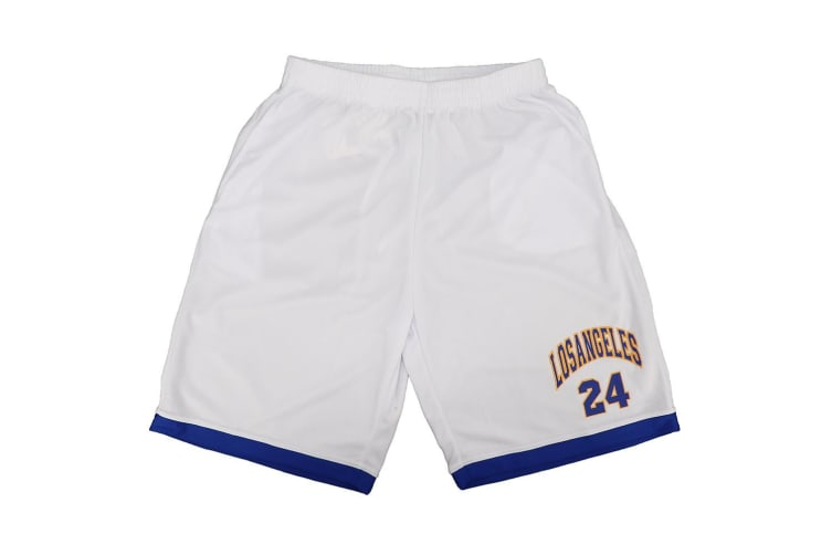 Men's Basketball Sports Shorts Gym Jogging Swim Board Boxing Sweat Casual Pants - White - Los Angeles 24