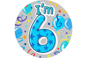 Expression Factory Childrens Boys I Am 6 Today Giant Badge (Blue)
