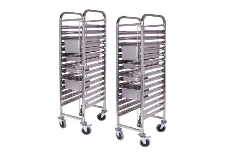SOGA 2X Gastronorm Trolley 16 Tier Stainless Steel Bakery Trolley Suits GN 1/1 Pans