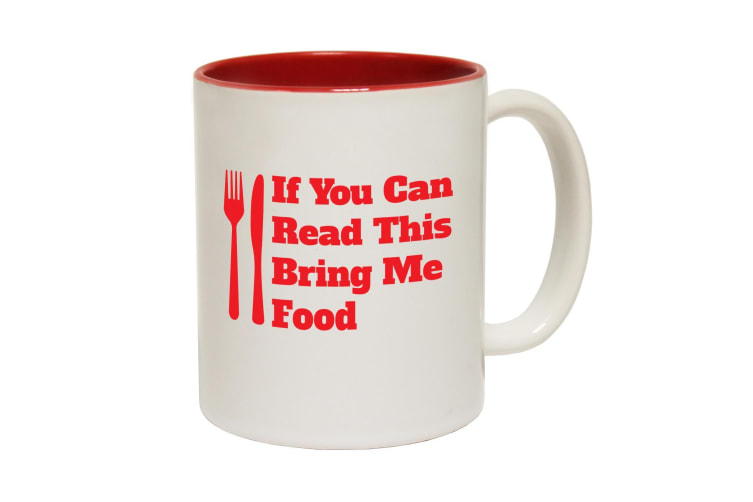 123T Funny Mugs - I You Can Read Bring Food Funny - Red Coffee Cup