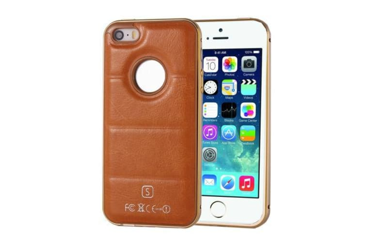 For iPhone SE 5S 5 Case  Separable Leather Shielding Cover Brown