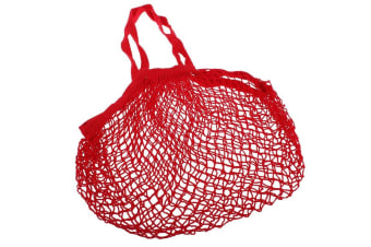 Appetito Cotton String Shopping Bag - Red Long Handle