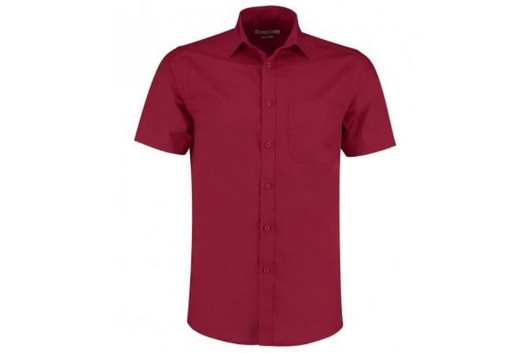 Kustom Kit Mens Short Sleeve Tailored Poplin Shirt (Claret) (14.5)