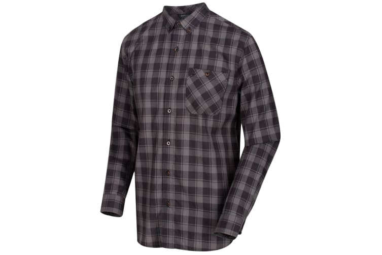 Regatta Great Outdoors Mens Lazare Long Sleeve Checked Shirt (Briar/Black) (3XL)