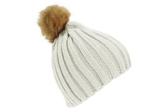 Childrens Girls Cable Knit Faux Fur Pom Pom Winter Beanie Hat (Cream) (One Size)