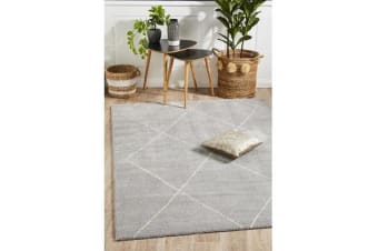 Carter Silver Grey & Ivory Soft Contemporary Rug 340x240cm
