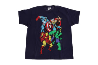 Marvel Group Childrens/Kids T-Shirt (Navy)