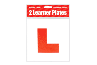 County Stationery Magnetic Red Learner Driver L Plates (Pack Of 2) (White/Red)