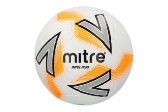 Mitre Impel Plus Size 5 Stitched PVC 30 Panel Soccer/Football Training Ball WHT