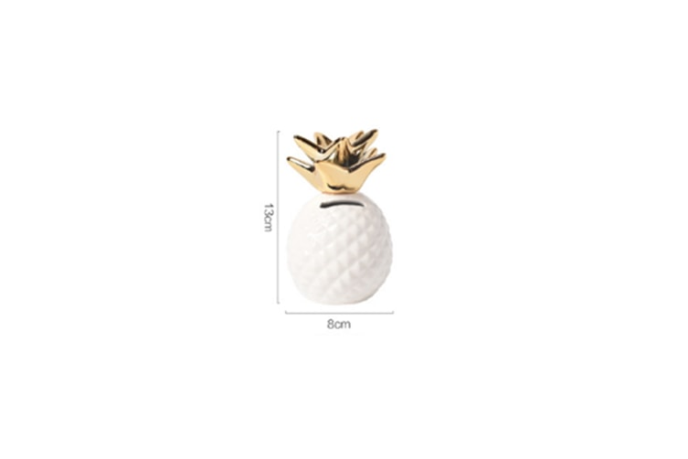 Pineapple Coin Piggy Bank Decorative Ceramic Pineapples Shaped Save Money Cans - White White