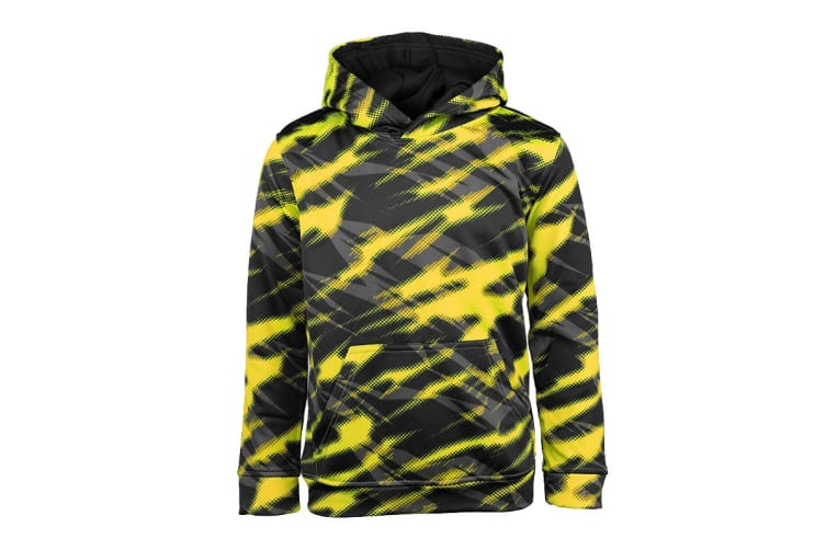 Champion Boys' Printed Performance Pullover Hoodie (Yellow/Black Zig Zag, Size S)